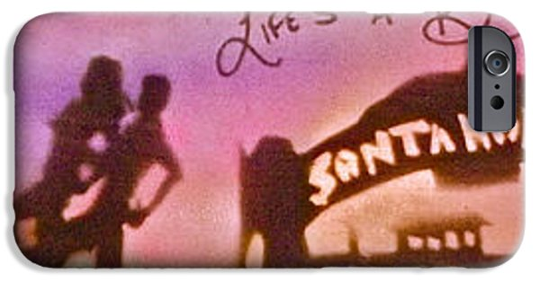 Kobe Paintings iPhone Cases - Venice Beach to Santa Monica pink iPhone Case by Tony B Conscious