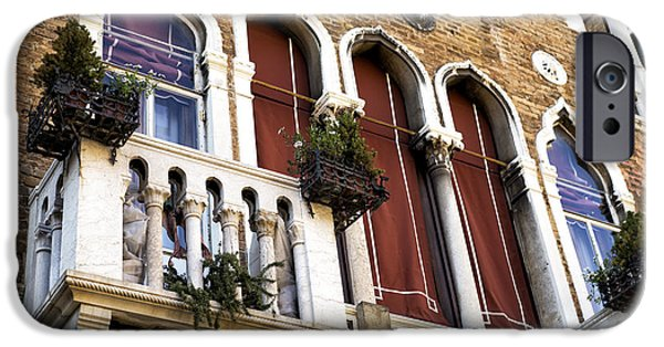 Venetian Balcony iPhone Cases - Venice Brick Design iPhone Case by John Rizzuto
