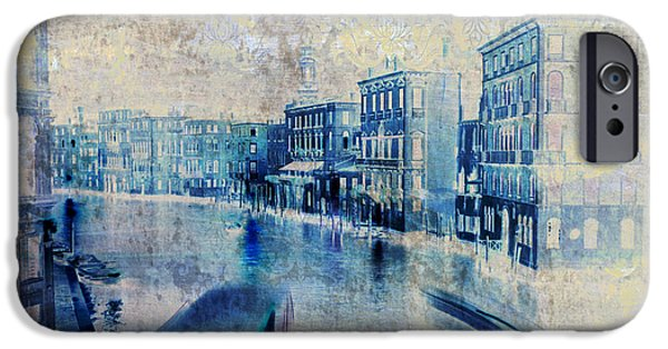 Abstract Seascape Mixed Media iPhone Cases - Venice Canal Grande iPhone Case by Frank Tschakert