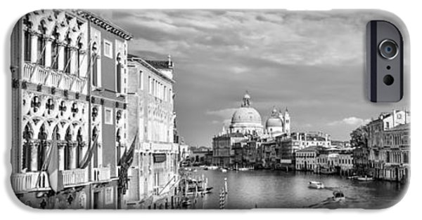 White House iPhone Cases - VENICE Canal Grande Santa Maria della Salute black and white iPhone Case by Melanie Viola