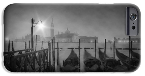 Night Lamp iPhone Cases - VENICE Gondolas a foggy Nightscape iPhone Case by Melanie Viola