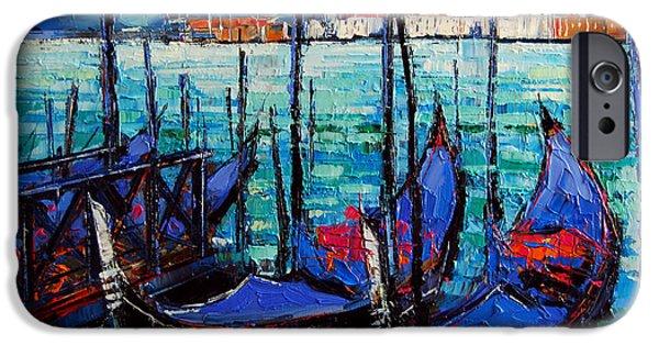 Venetian Doors iPhone Cases - Venice Gondolas And San Giorgio Maggiore iPhone Case by Mona Edulesco