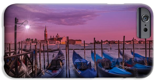 Night Lamp iPhone Cases - VENICE Gondolas at Sunset iPhone Case by Melanie Viola