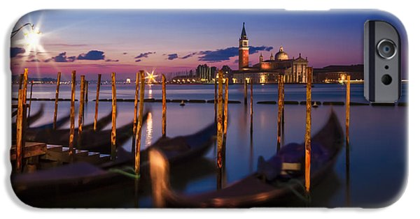 Night Lamp iPhone Cases - VENICE Gondolas during Blue Hour iPhone Case by Melanie Viola