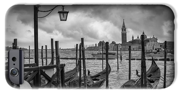 Night Lamp iPhone Cases - VENICE Gondolas in black and white iPhone Case by Melanie Viola