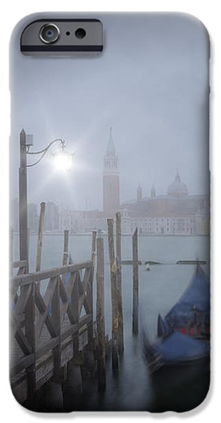 Night Lamp iPhone Cases - VENICE Gondolas in the Mist iPhone Case by Melanie Viola
