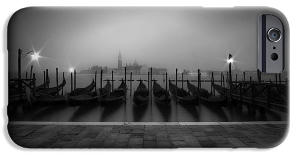 Night Lamp iPhone Cases - VENICE Gondolas on a foggy morning iPhone Case by Melanie Viola