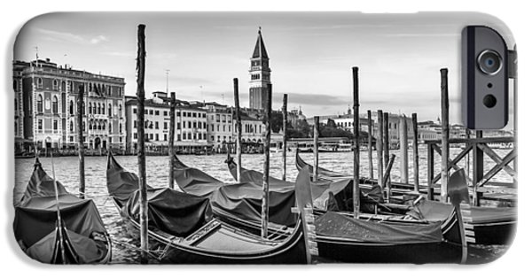 San Marco iPhone Cases - VENICE Grand Canal and Goldolas in black and white iPhone Case by Melanie Viola