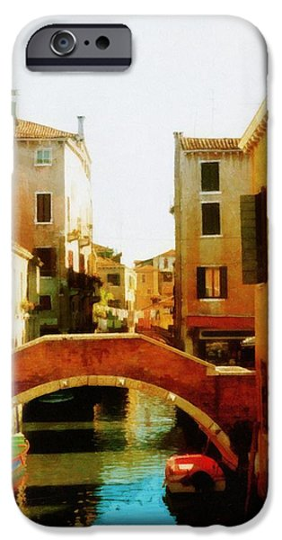 Venetian Balcony iPhone Cases - Venice Italy Canal with Boats and Laundry iPhone Case by Michelle Calkins