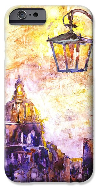 Night Lamp Paintings iPhone Cases - Venice Italy watercolor painting on YUPO synthetic paper iPhone Case by Ryan Fox