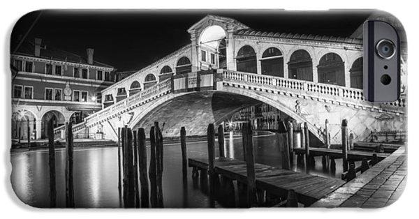 Night Lamp iPhone Cases - VENICE Rialto Bridge at Night black and white iPhone Case by Melanie Viola