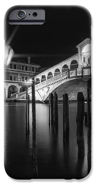 San Marco iPhone Cases - VENICE Rialto Bridge at Night in black and white iPhone Case by Melanie Viola