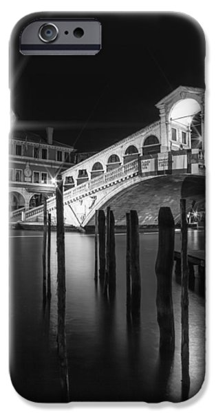 Night Lamp iPhone Cases - VENICE Rialto Bridge at Night in black and white iPhone Case by Melanie Viola