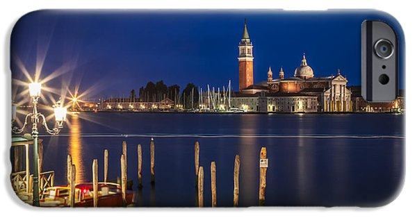 Night Lamp iPhone Cases - VENICE San Giorgio Maggiore at Blue Hour iPhone Case by Melanie Viola