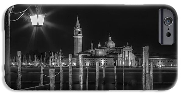 Night Lamp iPhone Cases - VENICE San Giorgio Maggiore at Night black and white iPhone Case by Melanie Viola