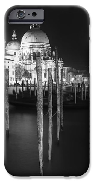 Night Lamp iPhone Cases - VENICE Santa Maria della Salute in black and white iPhone Case by Melanie Viola