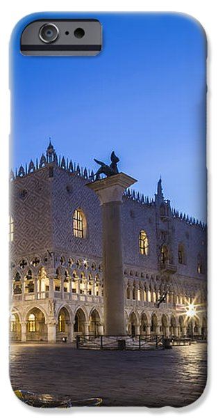 Night Lamp iPhone Cases - VENICE St Marks Square and Doges Palace in the Morning iPhone Case by Melanie Viola