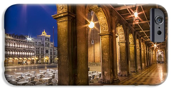 Night Lamp iPhone Cases - VENICE St Marks Square during Blue Hour iPhone Case by Melanie Viola
