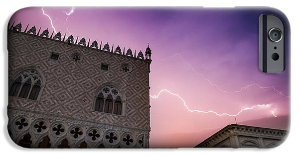 Night Lamp iPhone Cases - VENICE Thunderstorm over Doges Palace iPhone Case by Melanie Viola