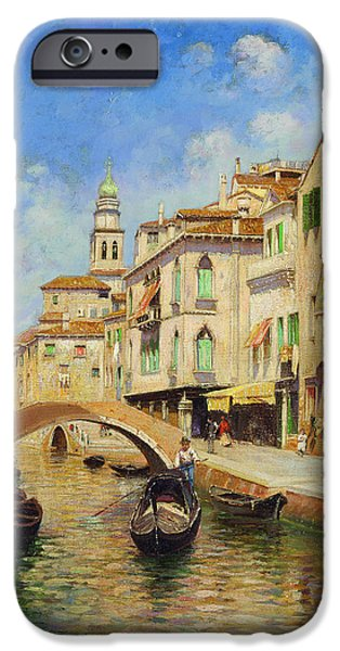 Rubens iPhone Cases - Venice with gondolier iPhone Case by Rubens Santoro
