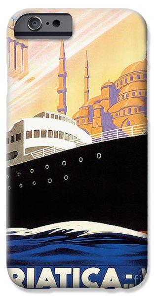 Fashion Design Art iPhone Cases - Venise Vintage Travel Poster iPhone Case by Jon Neidert