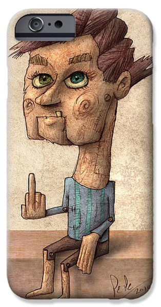 People Drawings iPhone Cases - Ventrilocuist Dummy iPhone Case by Autogiro Illustration
