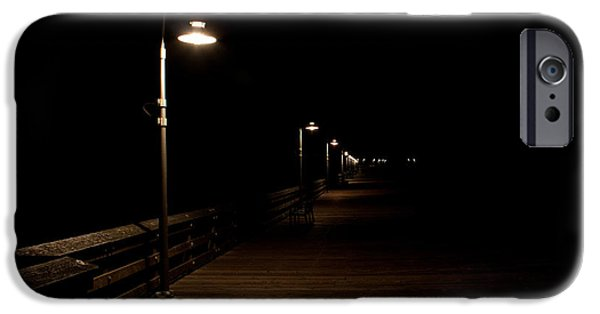 Night Lamp iPhone Cases - Ventura Pier at Night iPhone Case by John Daly