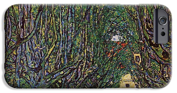 Park Scene Paintings iPhone Cases - venue of Schloss Kammer Park iPhone Case by Celestial Images