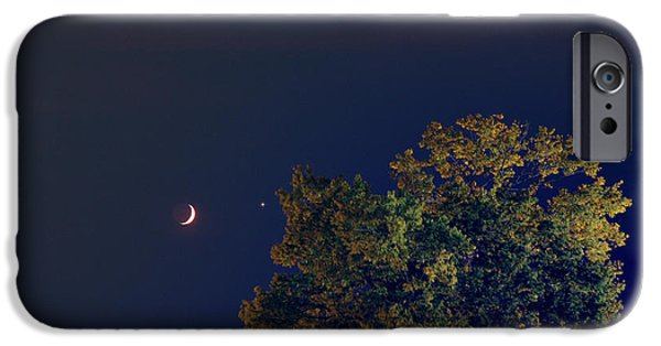 Stargazing iPhone Cases - Venus And Crescent Moon, 2013 iPhone Case by John Chumack