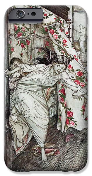 Fable iPhone Cases - Venus And The Cat, Illustration From Aesops Fables, Published By Heinemann, 1912 Colour Litho iPhone Case by Arthur Rackham