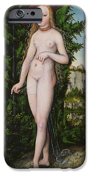 Renaissance iPhone Cases - Venus In A Landscape, 1529 Oil On Panel iPhone Case by Lucas, the Elder Cranach