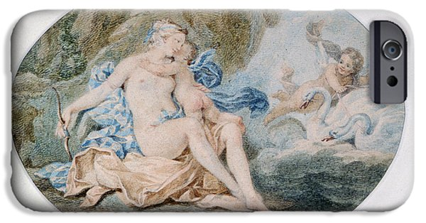 Myth iPhone Cases - Venus Reclining On A Bank Strewn With Drapery Watercolour iPhone Case by Francesco Bartolozzi