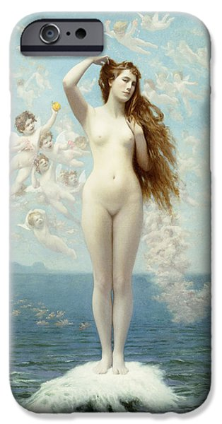 Mythological iPhone Cases - Venus Rising The Star iPhone Case by Jean Leon Gerome