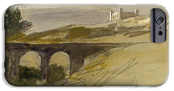 19th Century Drawings iPhone Cases - Verdala Malta iPhone Case by Edward Lear