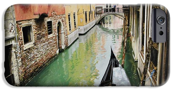 City Scape Pastels iPhone Cases - Verde Canal iPhone Case by Michelle Morris