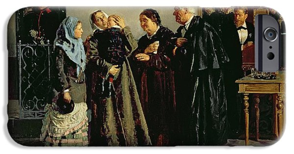 Police iPhone Cases - Verdict, Not Guilty, 1882 Oil On Canvas iPhone Case by Vladimir Egorovic Makovsky