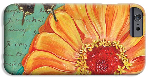 Dragonfly iPhone Cases - Verdigris Floral 1 iPhone Case by Debbie DeWitt