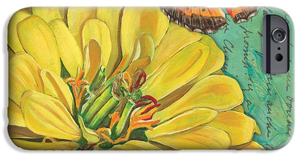 Plant iPhone Cases - Verdigris Floral 2 iPhone Case by Debbie DeWitt