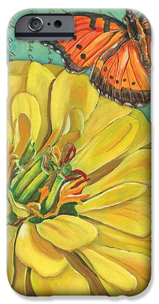 Verdigris Floral 2 iPhone Case by Debbie DeWitt