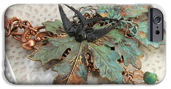 Autumn Jewelry iPhone Cases - Verdigris Leaves Necklace iPhone Case by Cates Boutik