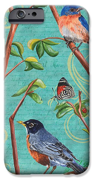 Ladybug iPhone Cases - Verdigris Songbirds 1 iPhone Case by Debbie DeWitt