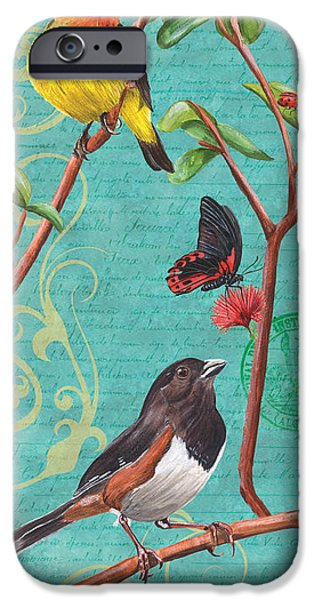 Ladybug iPhone Cases - Verdigris Songbirds 2 iPhone Case by Debbie DeWitt