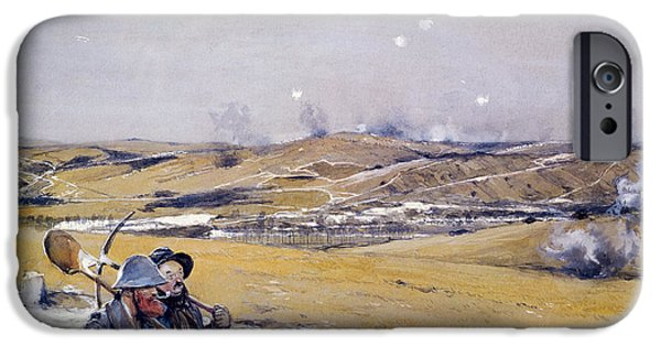 World War One iPhone Cases - Verdun, 1916 Oil On Canvas iPhone Case by Francois Flameng