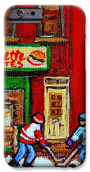 VERDUN ART WINTER STREET SCENES PIERRETTE PATATES RESTO HOCKEY PAINTING VERDUN MONTREAL MEMORIES iPhone Case by CAROLE SPANDAU
