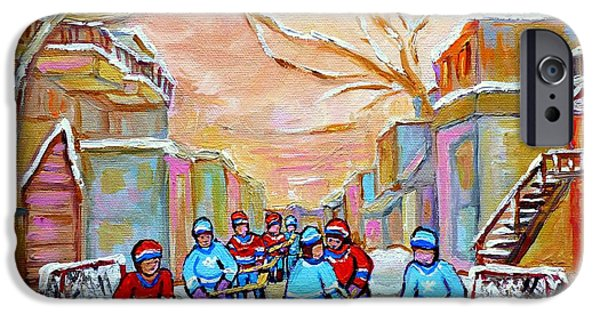 Hockey Paintings iPhone Cases - Verdun Back Lane Hockey Practice Montreal Winter City Scen Painting Carole Spandau iPhone Case by Carole Spandau