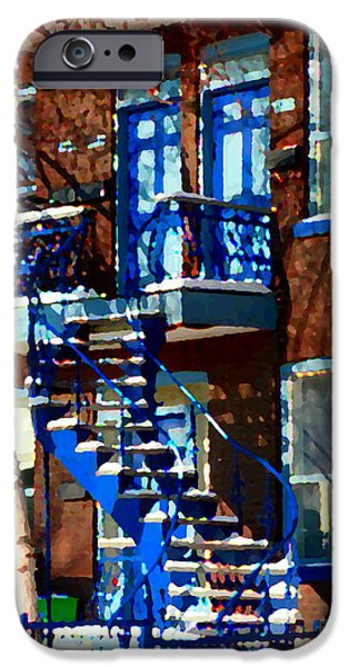Montreal Memories. iPhone Cases - Verdun Duplex Stairs With Birch Tree Montreal Winding Staircases Winter City Scene Carole Spandau iPhone Case by Carole Spandau