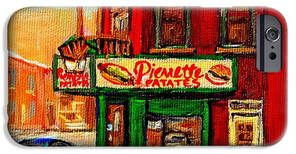 Hockey Paintings iPhone Cases - Verdun Street Hockey Pierrettes Restaurant Rue 3900 Verdun -landmark Montreal Hockey Art Work Scenes iPhone Case by Carole Spandau