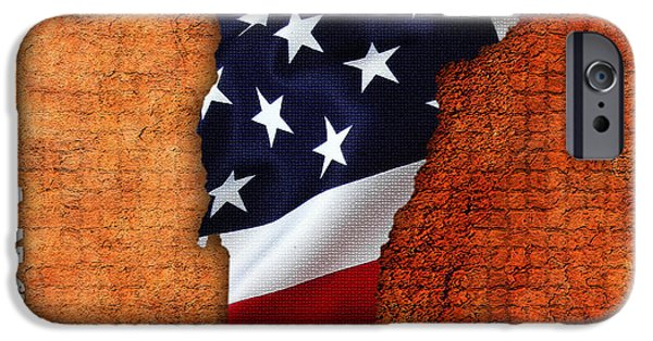 Home iPhone Cases - Vermont American Flag State Map iPhone Case by Marvin Blaine