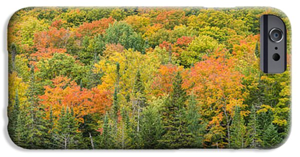 Fall Scenes iPhone Cases - Vermont Autumn Fall Panorama forest foliage iPhone Case by Andy Gimino