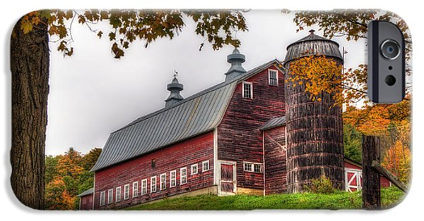 Autumn Scenes iPhone Cases - Vermont Country Barn in Autumn iPhone Case by Joann Vitali